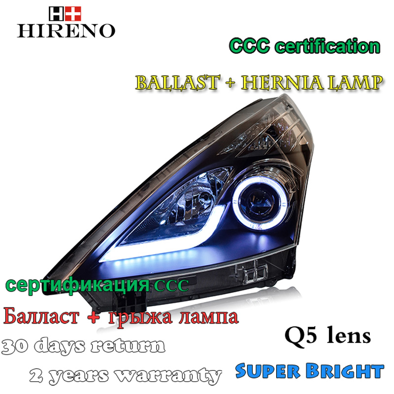 Hireno Car styling Headlamp for Nisasn Teana  Altima 2008-2011 Headlight Assembly LED DRL Angel Lens Double Beam HID Xenon 2pcs