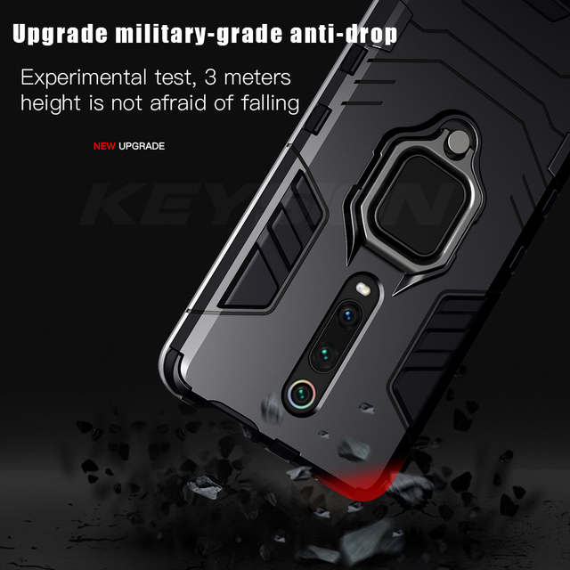 KEYSION Shockproof Armor Case For Redmi K20 K20 Pro Note 7 7a 6 8 Pro Stand Holder Car Ring Phone Cover for Xiaomi Mi 9T Pro Mi9 se CC9e Mi 8 lite A2 A3