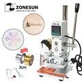 ZONESUN ZS-90 машина для тиснения фольги ручная бронзовая тиснение ПВХ Карта кожа бумага дерево штампующий брэндинг железо