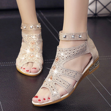 Women Shoes Hollow Beach Sandals 2019 Summer Roman Rhinestone Fish Mouth Womens Zapatos De Mujer