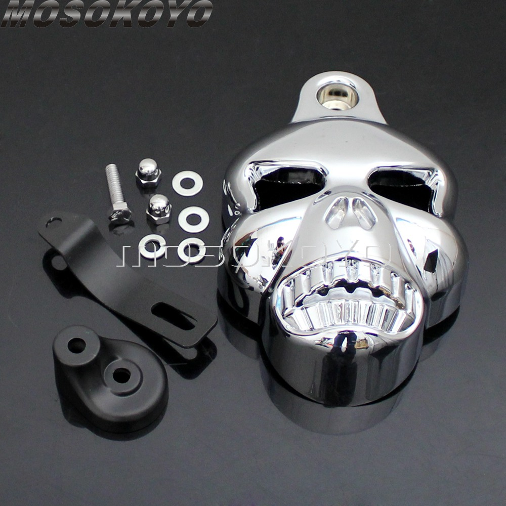 Motorcycle Cowbell Skull Horn Cover For Harley Sportster Dyna Softail Glide Ultra Electra Glide Road King Classic (1992 2014)