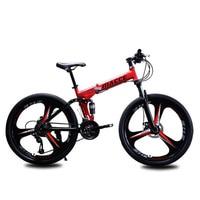 3 나이프 휠 자전거 24 인치 24 속도 접이식 산악 자전거 가변 속도 및 이중 충격 흡수 자전거