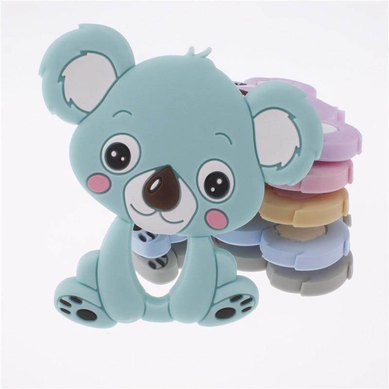 10PCS Silicone Cartoon Koala Bear Teether Pendant Bpa Free Silicone Teething Necklace Food Grade Christmas Decorations