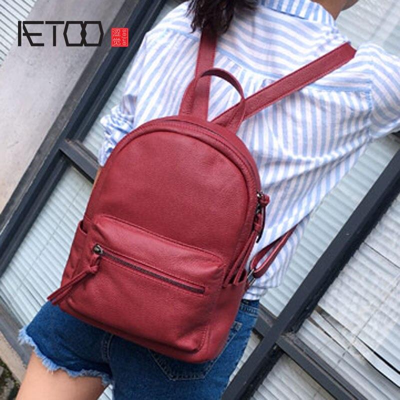 AETOO Japanese Korean leather large capacity shoulder bag ladies tide bag first layer of cowboy wild