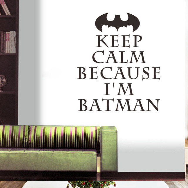 Keep calm because im batman quotes wall stickers for kids rooms vinyl room wall