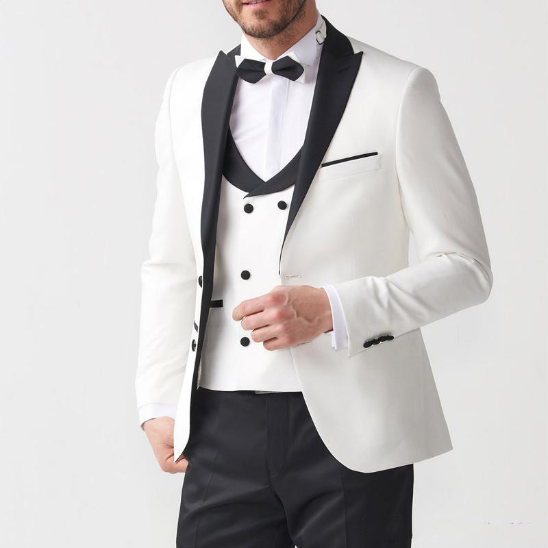 2019 Three Piece Groom Tuxedos Suit Men  Wedding Evening Men Suits Ivory And Black Blazer Formal Jacket Pants Vest Costume Homme