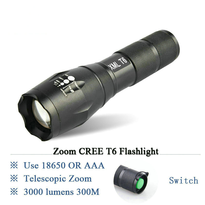 powerful Zoomable led flashlight CREE XM L2 T6 lamp lanterna 3000Lumen led Torch waterproof light Use 3X AAA or 18650Battery E17 3000 lumens zoomable cree xm l t6 led tactical flashlight torch zoom lamp light waterproof led 5 modes for 1x18650 3xaaa