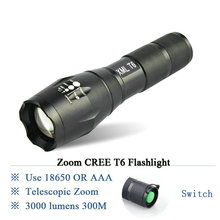powerful Zoomable led flashlight CREE XM L2 T6 lamp lanterna 3000Lumen led Torch waterproof light Use 3X AAA or 18650Battery E17