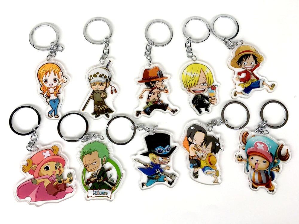 One Piece Luffy Ace Trafalgar Law Tony Mihawk Rubber Keychain Keyring Be