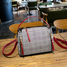Tonny Kizz vintage crossbody bags for women plaid shoulder messenger large capacity zipper lady hand tote high quality