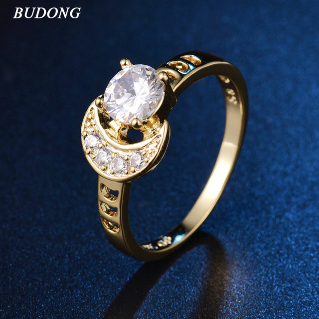 BUDONG Infinity Mothers Day Gift Rings for Women Elegant Moon Sun