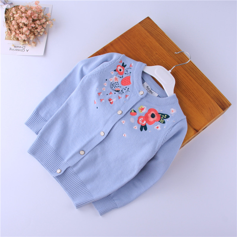 JR-109132 Baby Sweater For Girls Cardigan For Girls Sweater Embroidery Flower Baby Clothes For Girls Lolita Pattern Sweater sweater baby blumarine sweater