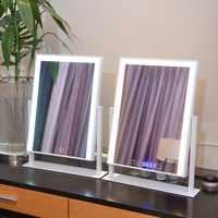 360 תואר סיבוב שולחן LED איפור מראה כפולה צבע אור מתכווננת מגע מסך תכונות: איפור מראה