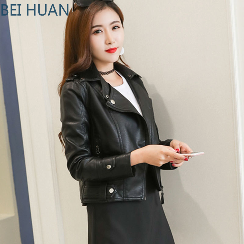 2019 Rushed Real Faux   Leather   Full Regular   Leather   Jacket Women Jaqueta De Couro Feminino Ladies   Leather   Jacket Korean Women