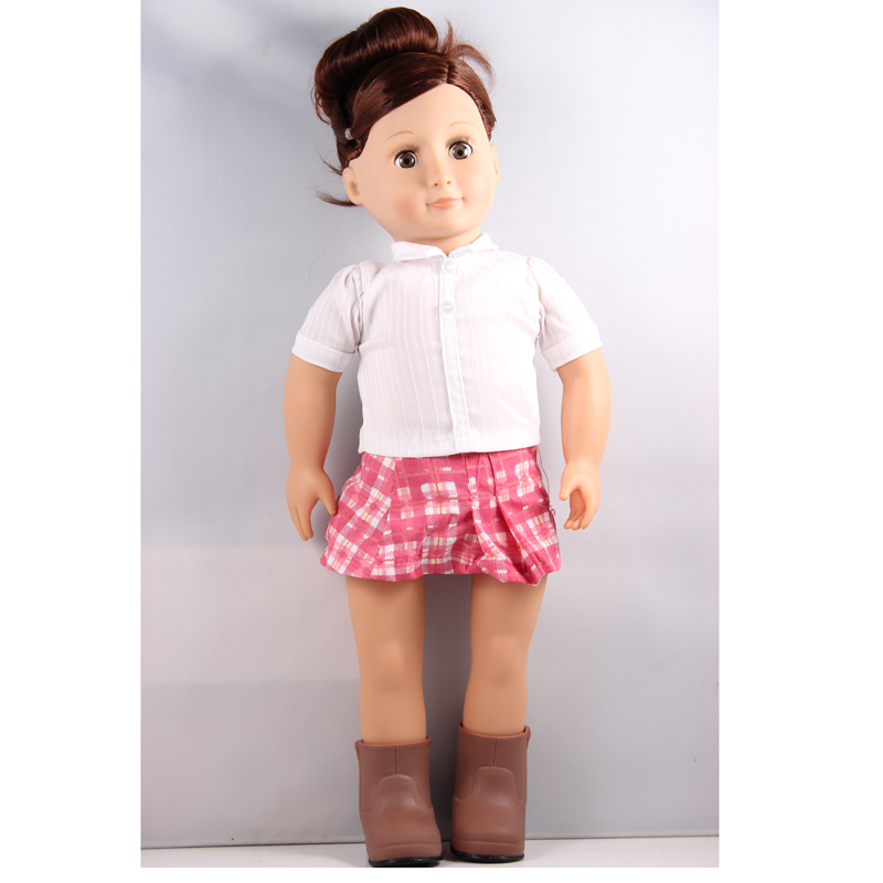 dark  brown 18inch American girl doll +white shirt grid short skirts +boots shoes birthday Christmas gift AGD09