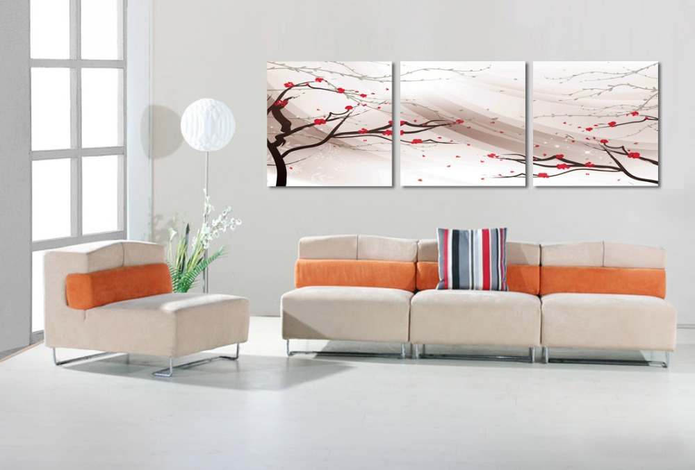 free shipping 3 piece wall decor paintings for living room