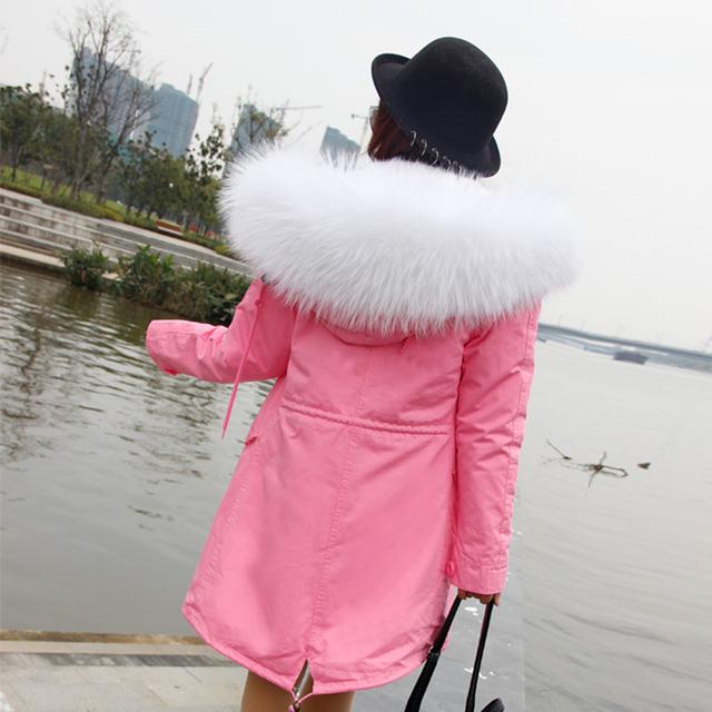 Parkas Para Mulheres Inverno 2016 Céu Azul Verdadeiro Casaco Grande Gola de Pele De Guaxinim Marca Engrossar Algodão Acolchoado Jaqueta Outerwear Feminino