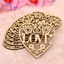 5pcs/lot Romantic Wooden Heart Love with Flowers Laser Cut Rustic Wood Natural Decorative Crafts Wedding Party Accessories