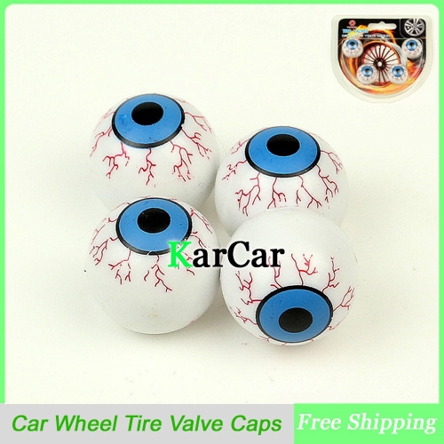Hot Sale 1Set Creative Eye Ball Pattern Auto Wheel Valve Air Cap Cover Car Motocycle Universal Tire Valve Caps White ...