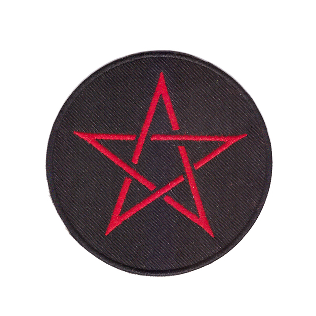 PENTAGRAM-PATCH brodé rouge Wicca   Fer sur le diable, rouge, satanique
