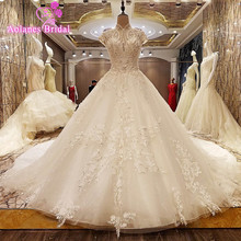 100% Real Photos Amazing Luxury Royal Long Train Crystal Beading Appliques Wedding Dress Hot Sale 2017 High Neck Bridal Gowns