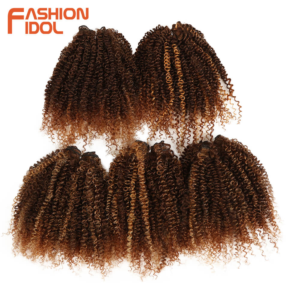 FASHION IDOL Synthetic Hair Weave Afro Kinky Curly Hair Bundles Black Blonde 8 inch 250g 5 Pieces Hair Extensions Free Shipping(China)