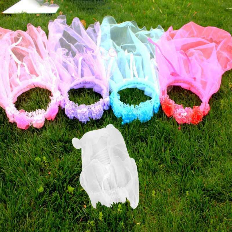 女の子リトルプリンセスヘアバンド 1 層チュールブライダルベールフラワーガーランドウェディングパーティー花輪ヘッドバンド無地ビーズ