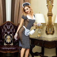 Women's Vintage Polka Dots French Apron Maid Fancy Dress Costume Sexy Erotic Servant Cosplay Dress