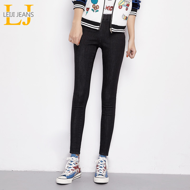 LEIJIJEANS New Arrival Winter Fleece Stretch Well Plus Size Elastic Waist Two Color Women Casual Skinny Pencil Jeans 6268