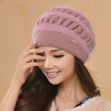 Winter Cap Female Thicken Warm Wool Hat Fashion Knitted Caps High Quality Ear Protection Thermal Rabbit  Fur Beanies Gorros