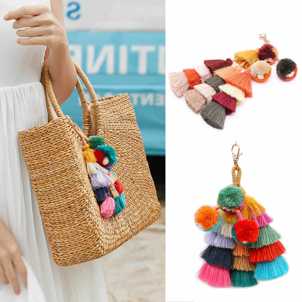 Chaveiros de Moda Boho Das Mulheres Em Camadas Coloridas Pom Pom MAY2 Tassel Bag Charm Chaveiro TRANSPORTE da gota Atacado