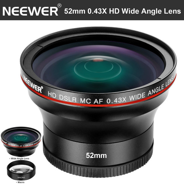 Neewer52MM 0.43X HD Wide Angle Lens with Macro Close-Up Portion Lens No Distortion Digital High Definition for Nikon DSLR Camera