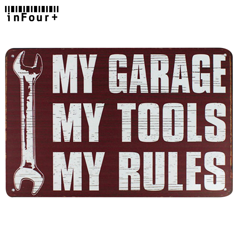 My Garage My Tools My Rules Wall Decor Metal Sign Vintage