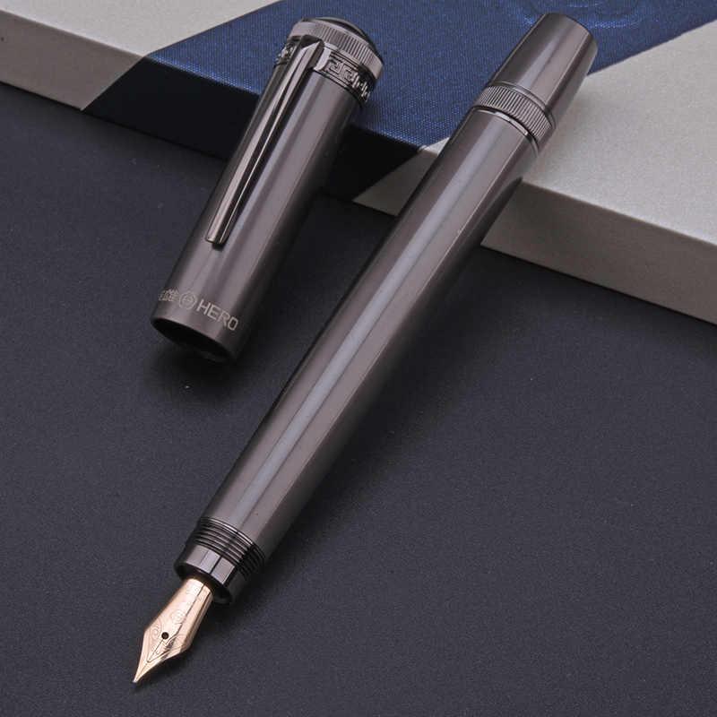 Git H718 Pahlawan Fountain Pen 10 k Emas Nib Rotary Piston Tinta Converter Penutup Tersembunyi Fleksibel Pena Hadiah Kantor Bisnis kotak