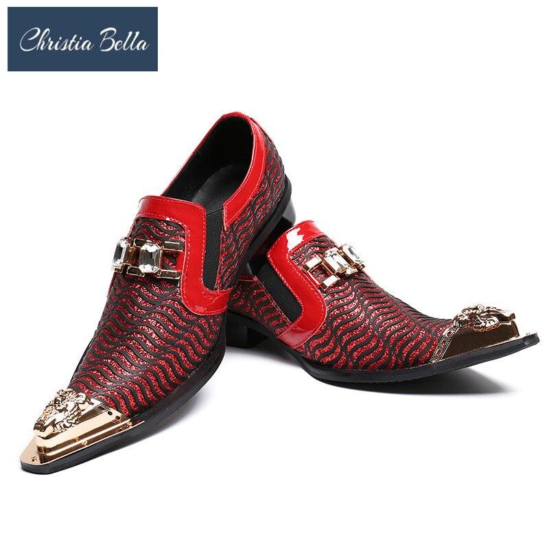 Christia Bella di Nuovo Modo Scarpe Da Sposa Rosso Glitters Mens Scarpe A Punta Bling Bling Casual Pattini di Vestito di Lusso di Marca Scarpe Oxford