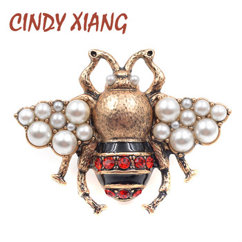 710e94672b5 CINDY XIANG New Fashion Pearl Bee Brooches for Women Antique Gold Color Brooch  Pin Vintage Style