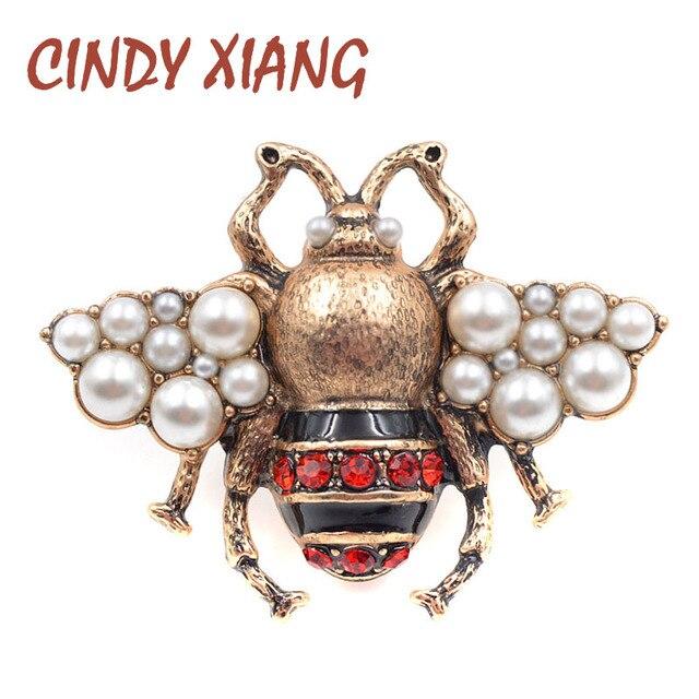 CINDY XIANG Nuova Perla di Modo Bee Spille per Le Donne di Colore Oro Antico Spilla Spille di Stile Dell'annata Dei Monili di Alta Qualità Insetto