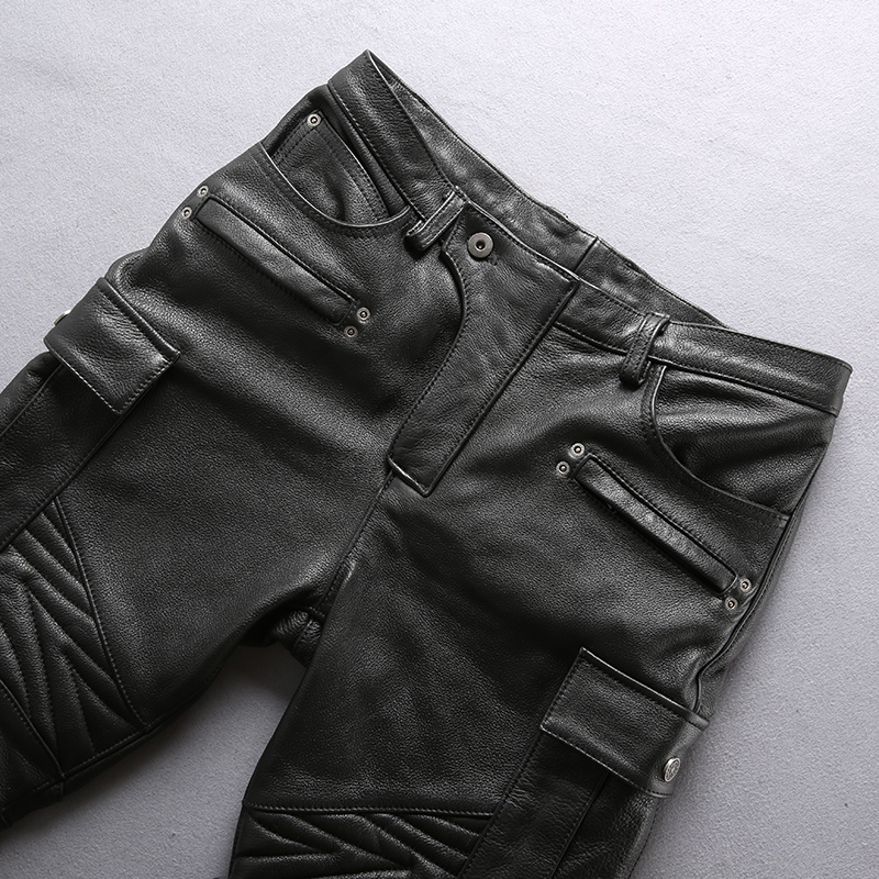 Fashion Mens Leather Pants Motorcycle Biker Windproof Warm Pants Trousers Size V