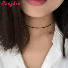 Simple Fashion Choker Necklace Thin Black Leather Rope Maxi Necklaces With Silver/Gold-color Metal Beads Short Necklace Women