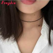 Simple Fashion Choker Necklace Thin Black Leather Rope Maxi Necklaces With Silver/Gold-color Metal Beads Short Necklace Women(China)