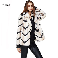 TUHAO Wave Striped High Street Style Faux Fur Coat Women PU Patchwork Long Sleeve Faux Fur