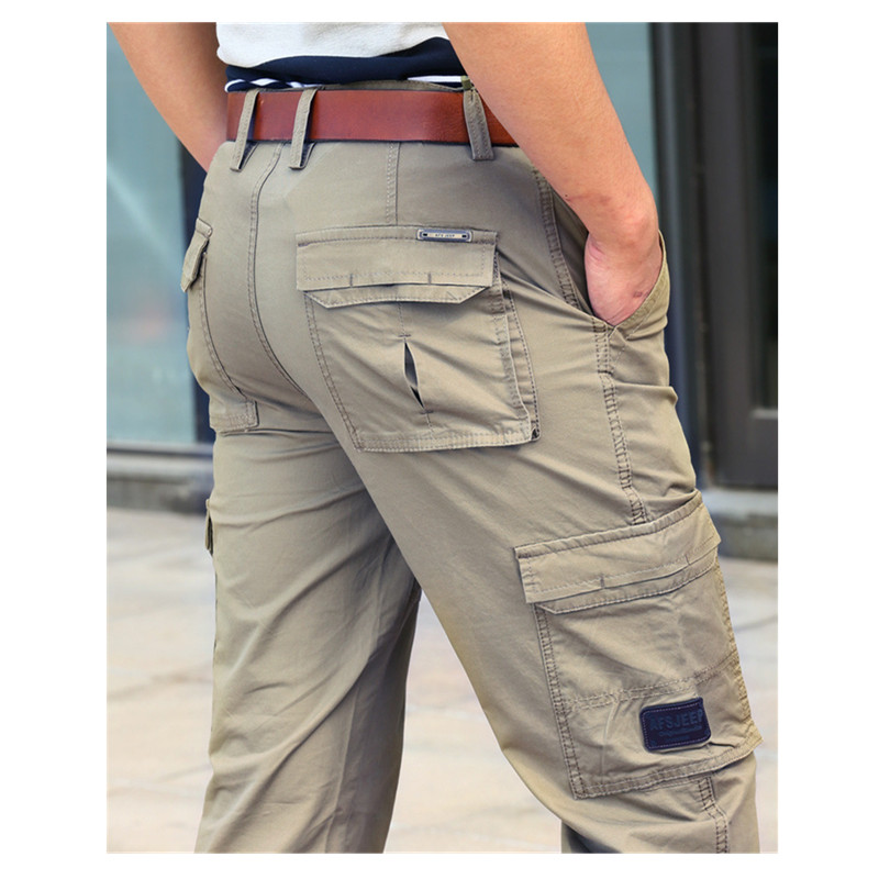 Men Spring Autumn Loose Multi-pocket Cargo Pants Male Outdoor Hiking Sports Climbing Stretch Plus Size Straight Overalls Trouser