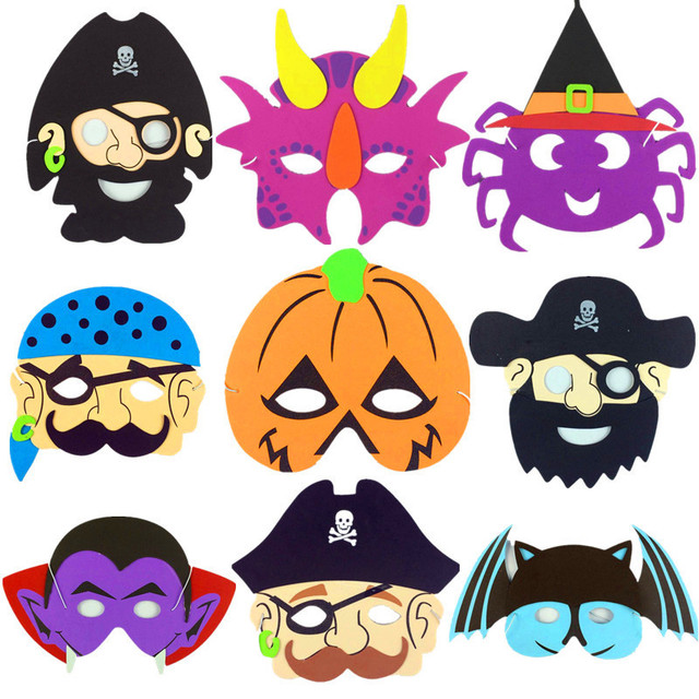 Kids Halloween Birthday Party.Us 0 58 Pirate Vampire Pumpkin Halloween Party Masks For Kids Children Halloween Birthday Party School Karneval Costume Dress Up Cosplay In Party