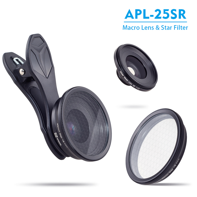 APEXEL Original phone lens,  25mm super macro lens with star filter mobile photography macro lente  for android ios smartphone 2