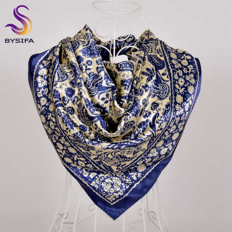 0f4e2822a5bc1 [BYSIFA] Chinese Style Blue Gold Ladies Silk Scarf Shawl 2018 New Brand  Satin Large
