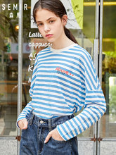 SEMIR Long sleeve T-shirt women 2019 autumn new striped bottoming tshirt loose thin round neck collar letter printing clothing(China)
