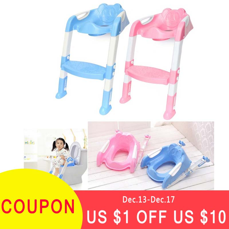 Hot Baby Toddler Potty Toilet Trainer Safety Seat Chair Step with Adjustable Ladder Infant Toilet Training Non-slip Folding Seat