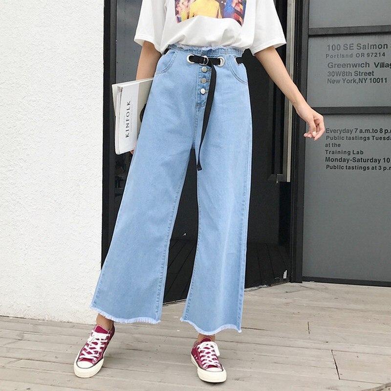 EXOTAO Boyfriend   Jeans   For Women Hot Sale Vintage Belt Denim Washed Pants Woman Tassel Single Breasted Wide Leg Pants   Jeans