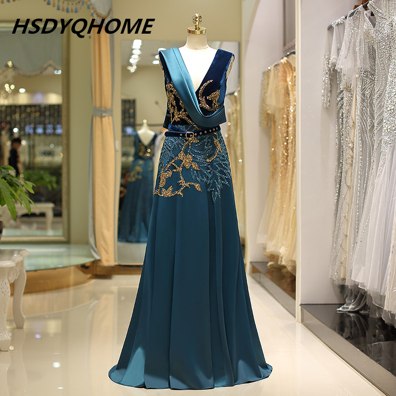 HSDYQHOME luxury 3D Beading   Evening     dresses   A-Line Amazing soft Satin Prom Party   dress   long   dress
