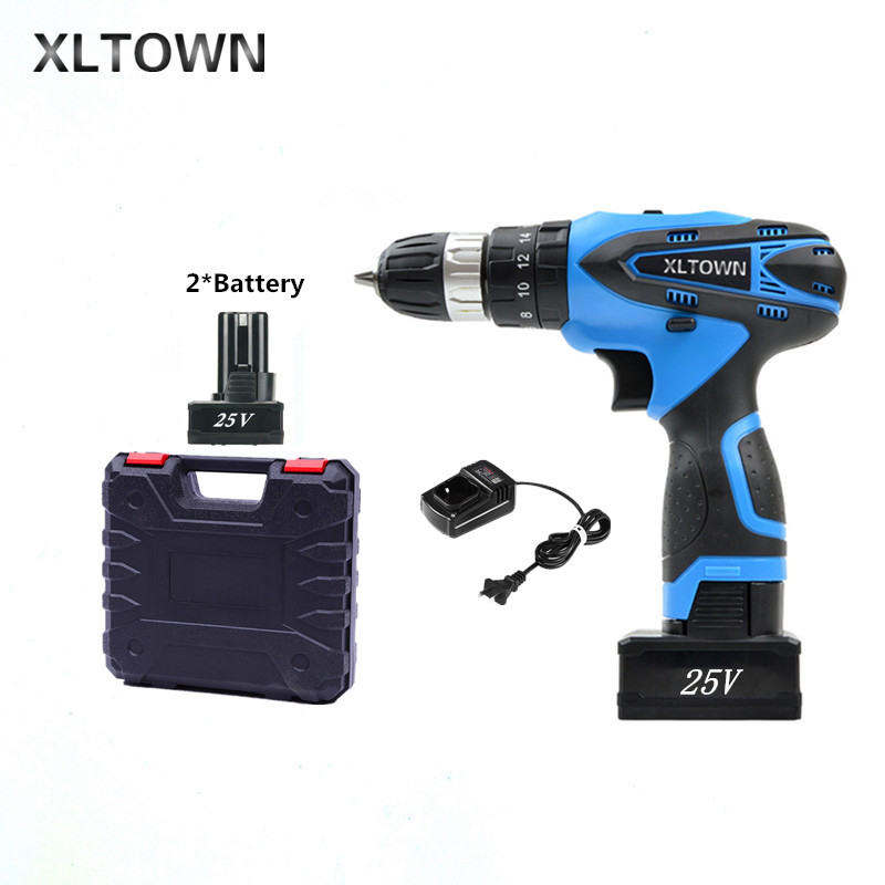 XLTOWN 25V 2000mA Impact Drill Rechargeable Lithium Battery Electric Screwdriver Cordless Electric Drill Power tools 25v multifunction power tools cordless electric drill electric screwdriver with lithium battery rechargeable miniature drill
